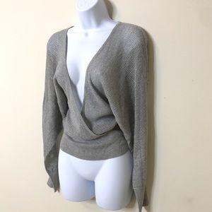Express Metallic Silver Glitter Deep VNeck Sweater